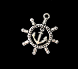 Silver Anchor and wheel charm Port and Starboard ribbon keychain