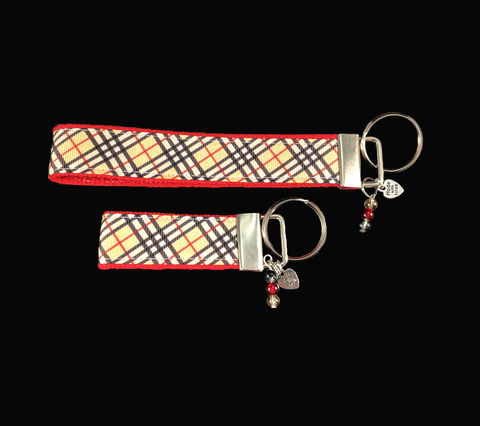Burberry-Inspired Plaid Ribbon Key-chain/fob with matching colored cracked glass beads