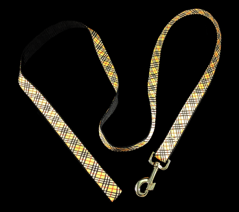 Handcrafted British Plaid Nylon Webbing Fashion Dog Leash/ Lead