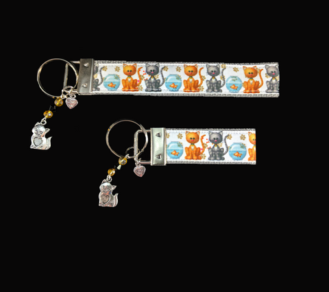 Gray and Ginger Cats with Fishbowl Wristlet Keychain