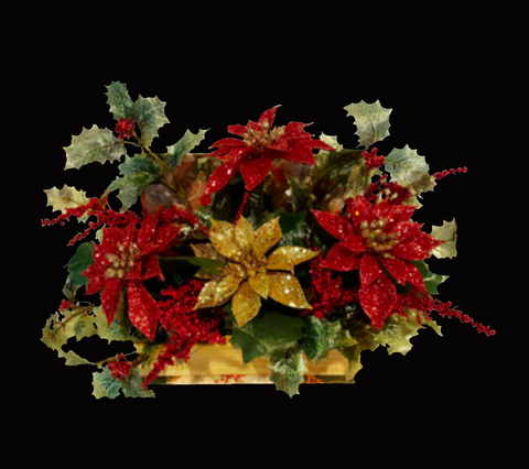 Literary Christmas Silk Flower Arrangement