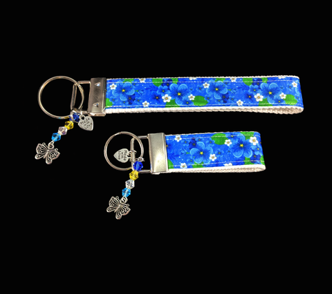 Cornflower Blue Ribbon Wristlet Keychain