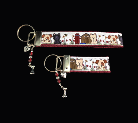 Trio of Puppies in Flowers Ribbon Keychain