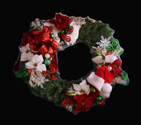 Extra Large Santa Themed Holiday Silk Wreath