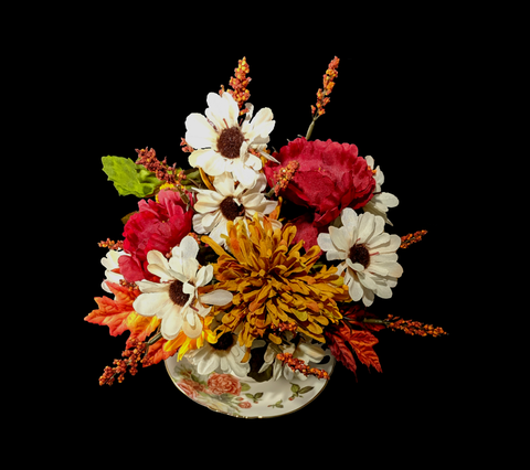 Autumn in a Tea Cup Silk Flower Arrangement