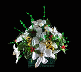 Snow White Poinsettia and Gold Jingle Bells in Sparkly Green Christmas Box