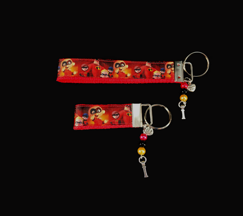 The Incredibles Wristlet Fob Keychain with Silver Charm and matching colored glass beads