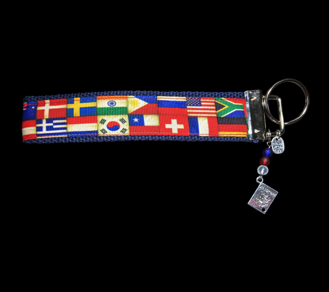 League of Nations/ International Countries'Flags Ribbon Wristlet Keychain