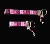 """Keep Calm And Survive On"" Breast Cancer Awareness Wristlet Keychain"