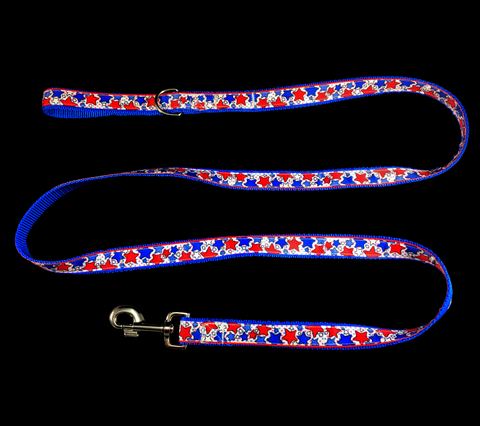 Handcrafted Red and Blue Patriotic Stars Nylon Webbing Fashion Dog Leash/ Lead