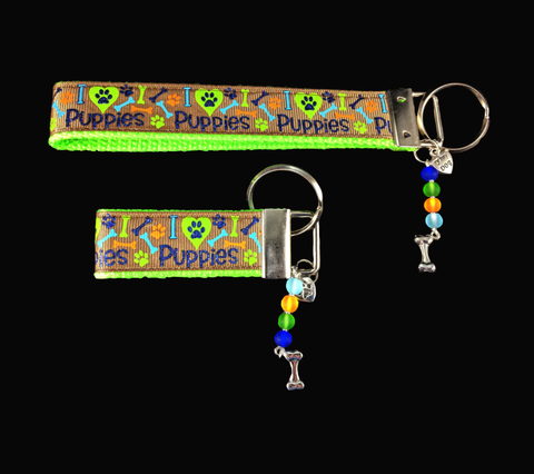 I Love Puppies Wristlet Keychain