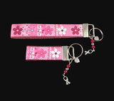 Breast Cancer Awareness Floral Keychain