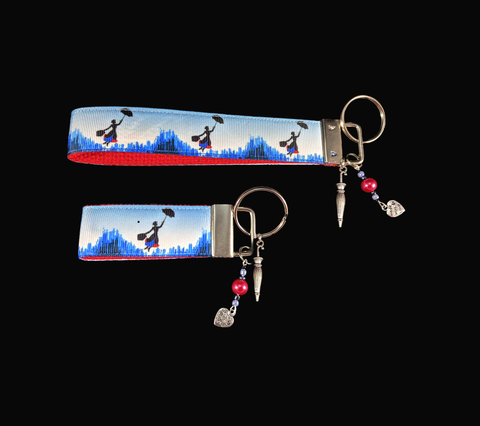 Mary Poppins Silhouette over London Wristlet Keychain