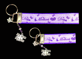 Purple Mother's Day Ribbon Key-chain/fob with silver My Mother My Hero charm and matching colored glass beads