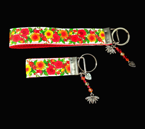 Red and Orange Summer Flowers Ribbon Key-chain/Fob with silver bee charm and matching color crystal beads