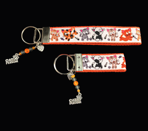 Adorable Kittens at Play Wristlet Keychain