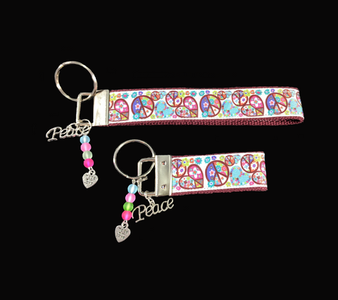 Peace and Love Wristlet Keychain