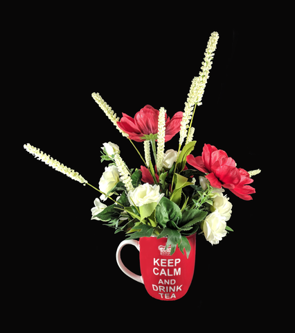 """Keep Calm and Remember""  Silk Floral Arrangement"