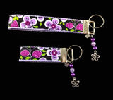 Positively Purple Floral Wristlet Keychain