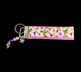 Purple and Cream Roses Wristlet Keychain
