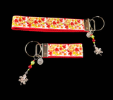 Red Autumn Leaves Ribbon Keychain