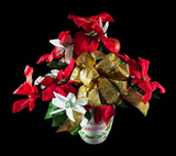 Merry Christmas Mug with Gold Tipped Red Poinsettias