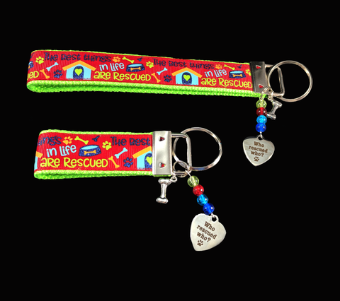 Who Rescued Who Wristlet Keychain