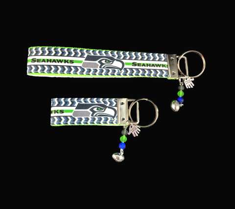 Seattle Seahawks Football Wristlet Keychain Silver Dangle Charm with glass beads