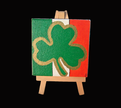 """Irish Shamrock"" Mini Painting With Easel"