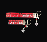 "The ""She Could"" Ribbon Key-chain/fob with silver Strong Woman Heart Charm and matching colorful beads"