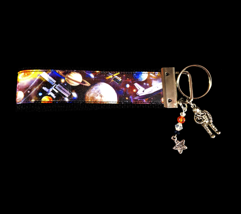 Space Travel Ribbon Key-chain/fob with silver astronaut charm and matching cracked crystal beads