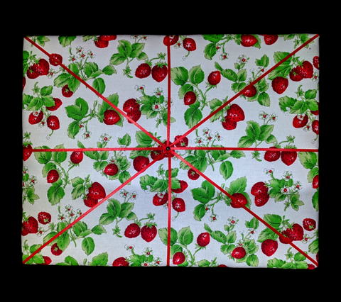 Fresh Strawberries Handcrafted French Fabric  Picture/ Note Board
