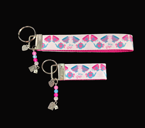 Tea Time Ribbon Key-chain/Fob with silver teabag charm and matching colored frosted glass beads