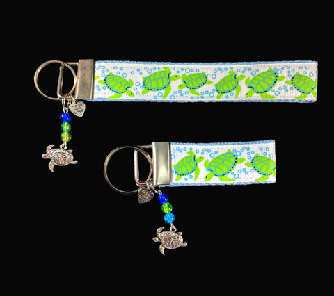 Sea Turtle Wristlet Keychain Silver Turtle Dangle Charm with Beads