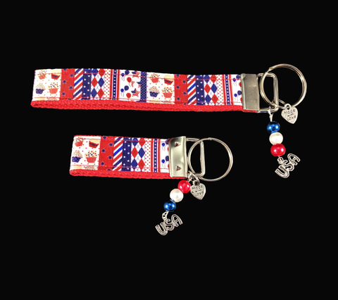 4th of July Wristlet keychain