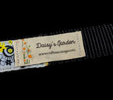 Handcrafted Black and Yellow Stylized Floral Nylon Webbing Fashion Dog Leash/ Lead