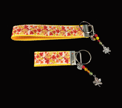 Yellow Autumn Leaves Wristlet Keychain