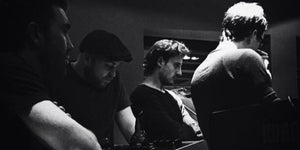 The milk band in chale abbey studios with paul butler producing in 2015 black and white featuring Dan, Mitch, Luke and rick