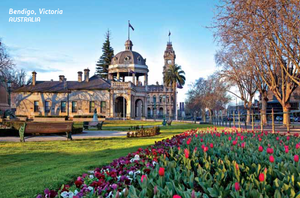 Postcard - Bendigo War Memorial & Tulips