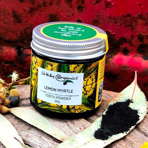 Urthly Organics: Lemon Myrtle & Activated Charcoal Toothpowder 50g
