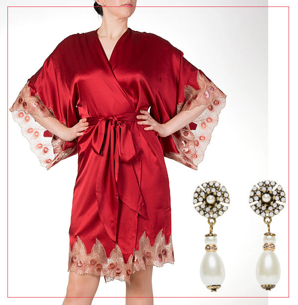silk robe from harlow and fox with miriam haskell pearl drop earrings