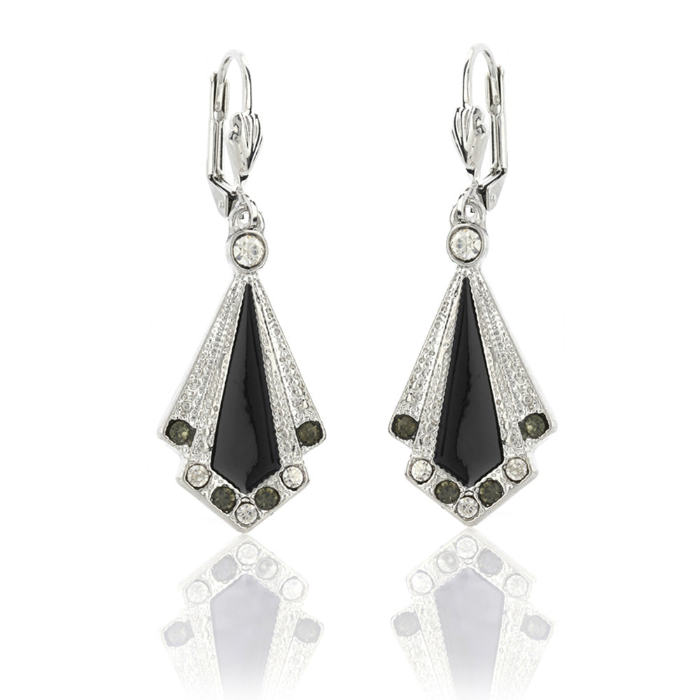 Stunning handmade black vintage art deco enamel earrings with Swarovski crystals which are perfect for any gatsby theme party or flapper 1920s look. See more at Lovett and Co. FREE packaging.