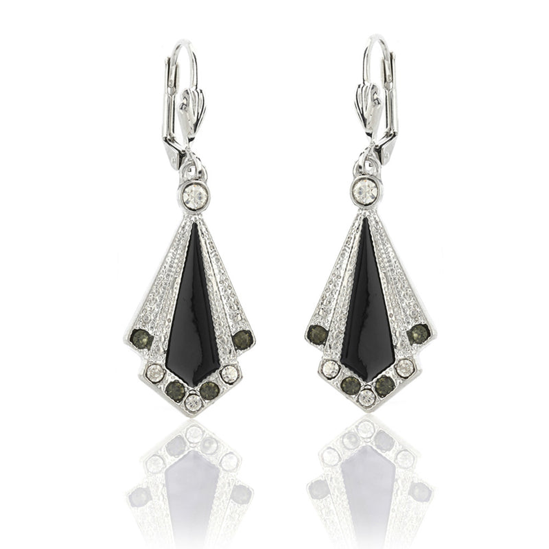 Stunning handmade black vintage art deco enamel earrings with Swarovski crystals which are perfect for any gatsby theme party or flapper 1920s look. FREE packaging.