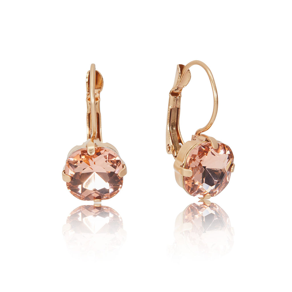 cushion cut earrings in peach vintage inspired jewellery 1950s by lovett and co pictured on a white background