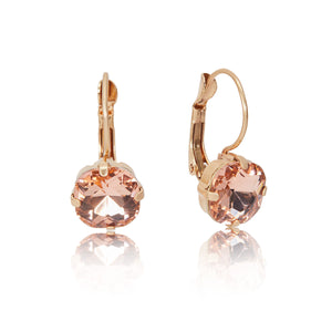 cushion cut earring in peach vintage inspired 1950s jewellery by lovett and co pictured on a white background