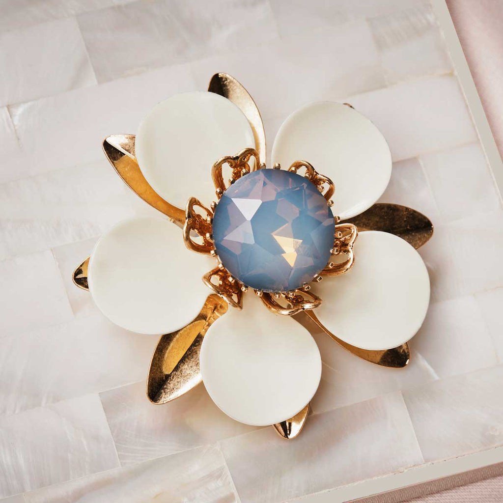 Large Opal Flower Brooch