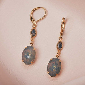 Oval Stone Earring (Short) Grey Opal