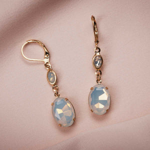 Oval Stone Earring (White Opal)