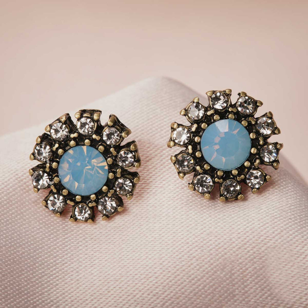 Grace Crystal Stud Earrings (Blue Opal)