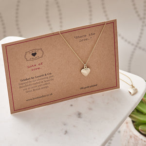 18 Gold Plated Heart Charm Necklace with Card
